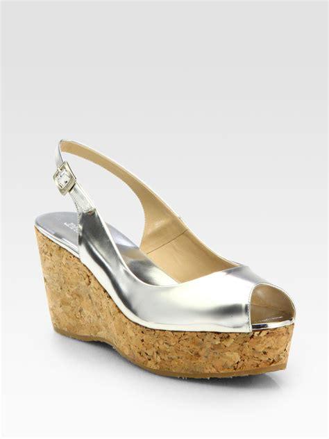 jimmy choo silver sandals jimmy choo praise metallic leather cork wedge sandals in