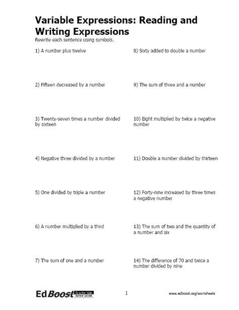 Writing Algebraic Expressions Worksheet by Write Number Sentences Edboost