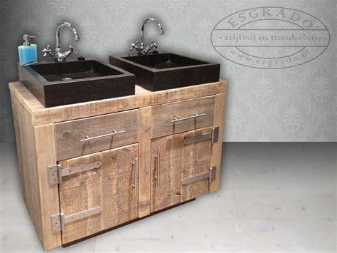 natuursteen badkamermeubel badkamermeubel wastafel van steigerhout met hardsteen