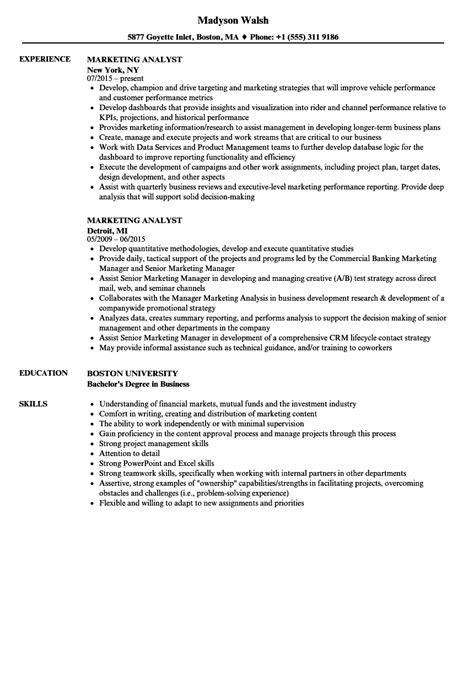 Marketing Analyst Resume by Marketing Analyst Resume Sles Velvet