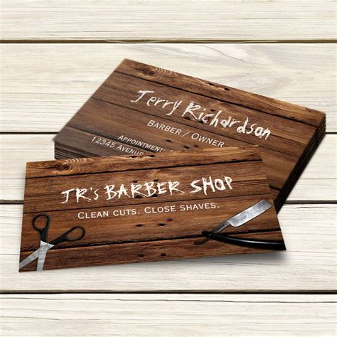 Rustic Country Barber Shop Scissors And Razor Business Card Shops Business Card Templates And Rustic Card Template