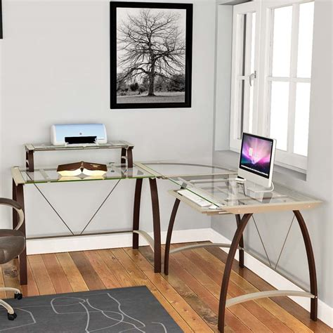 Z Line Corner Desk Z Line Designs Corner Desk With Hutch Espresso With Clear Glass Zl170 01ldu