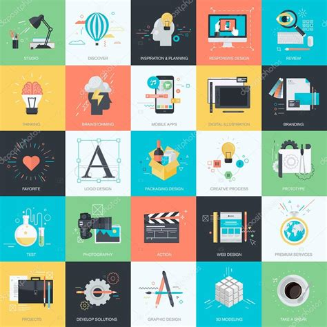 graphic design icon pattern set of flat design style concept icons for graphic and web