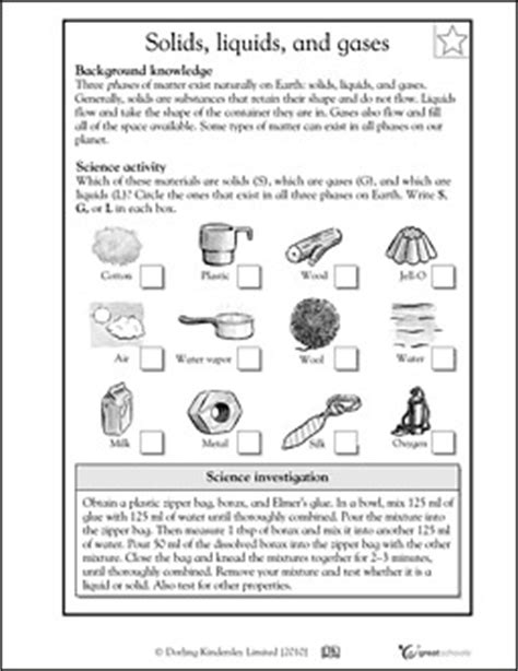 Solids Liquids And Gases Worksheets Middle School by Worksheets Activities For Parenting