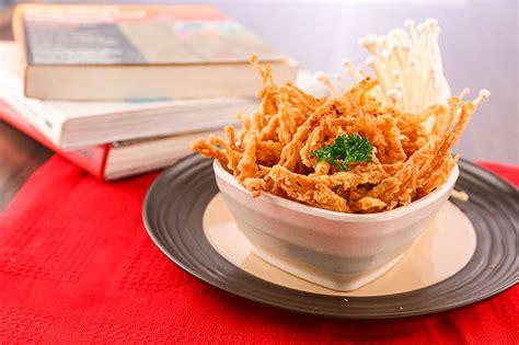 jamur enoki goreng crispy resep  dapur kobe