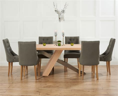 Dining Table With Fabric Chairs Chateau 195cm Oak And Metal Dining Table With Pacific Fabric Chairs The Great Furniture