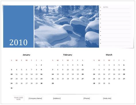 Download 2010 Calendar Templates For Microsoft Office 2007 2003 Microsoft Word 2010 Calendar Template