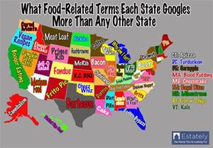 food map of the united states like turtle to this state says us food map
