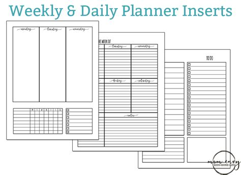 Weekly Insert Regular Size free weekly planner inserts daily inserts available in 3 sizes