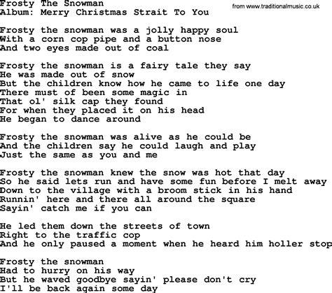 printable lyrics for frosty the snowman frosty the snowman by george strait lyrics