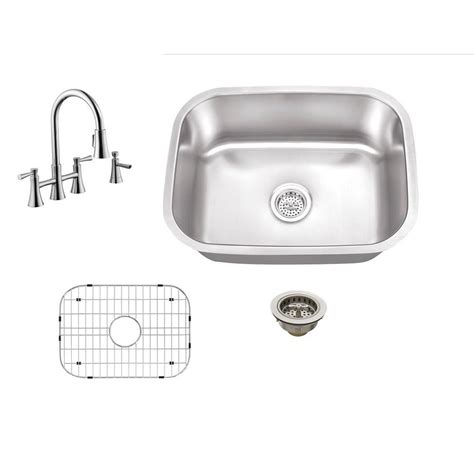 undermount kitchen sink with faucet holes schon all in one undermount stainless steel 22 in 0 hole