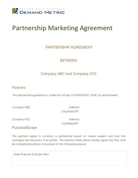 marketing partnership agreement template marketing agreement social media marketing agreement form
