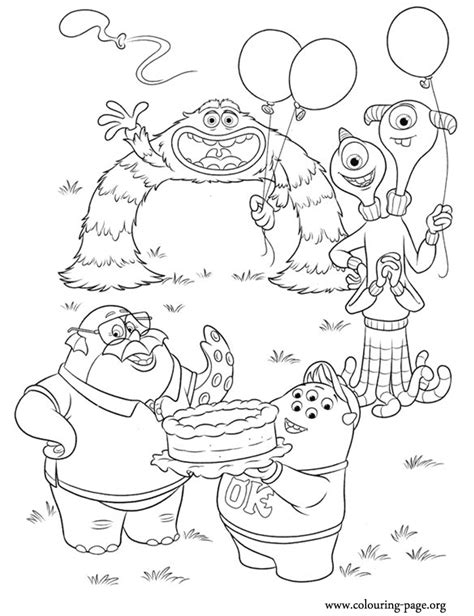printable coloring pages monsters university monsters university monsters celebrating coloring page