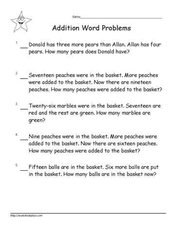 1st Grade Math Worksheets Word Problems by Addition 187 Addition Worksheets Word Problems Grade