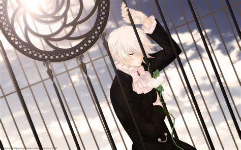 cute anime boy with white hair break