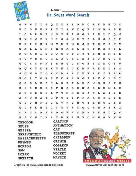 Dr Suess Worksheets by Dr Seuss Word Search Teaching