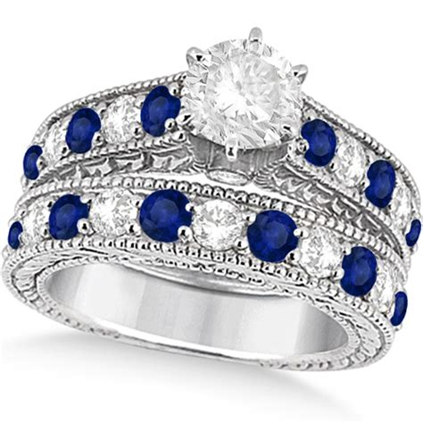 antique blue sapphire bridal ring set palladium