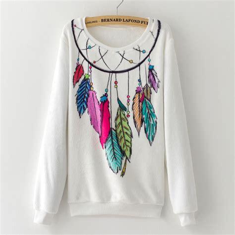 Print Sweater Hoodie Boho Feathers print white boho sweater feathers dreamcatcher on luulla