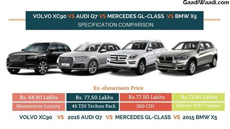 Price Comparison Bmw Audi Mercedes by Volvo Xc90 Vs Audi Q7 Vs Mercedes Gl Class Vs Bmw X5