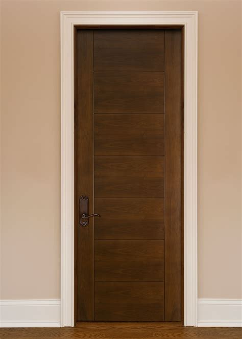Interior Door Custom Single Solid Wood With Dark Real Wood Interior Doors