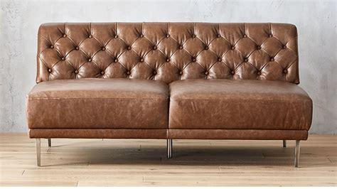 Saddler Leather Sofa by Savile Saddle Leather Tufted Armless Sofa Reviews Cb2