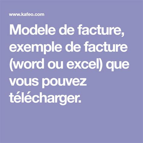 Modèle De Facture Word