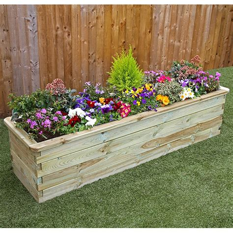 Raised Planters Uk by Zest 4 Leisure 1 8m Wooden Sleeper Raised Bed Planter