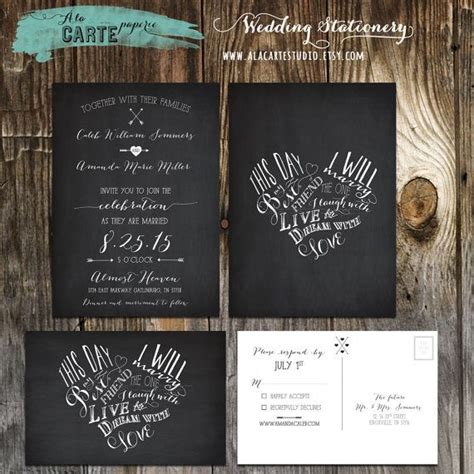 chalkboard inspired wedding invitation card and rsvp this