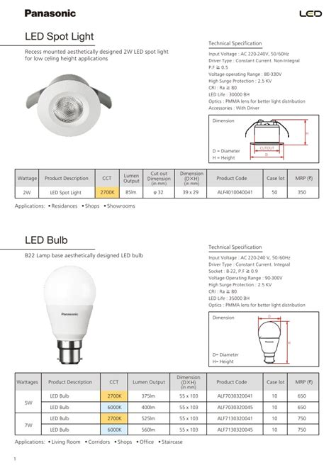 Panasonic Lu Led Neo 7w panasonic catalogue pricelist of led luminaires