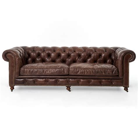 club chesterfield tufted brown leather sofa 96w kathy