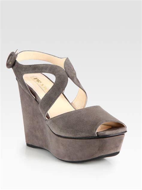 prada suede wedge sandals in gray lyst