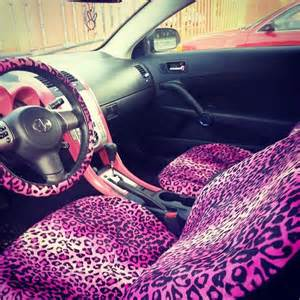 pinkish purple leopard print car seat girly car interior
