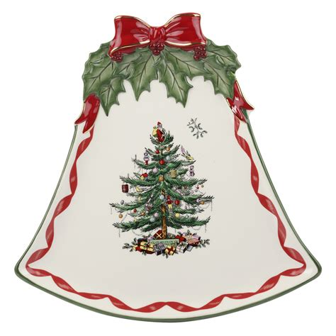 spode christmas tree gold ribbons bell coupe plate