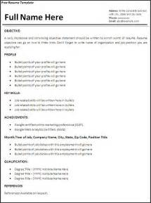 Job Resume Guidelines by Free Job Resume Format Free Word S Templates
