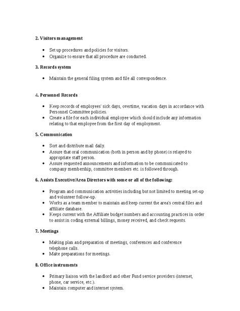Office Manager Sle Description by Office Manager Description Hashdoc