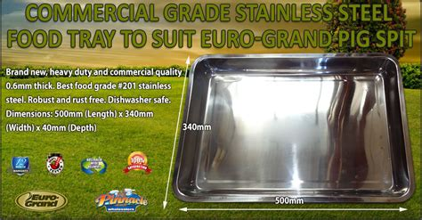 commercial grade stainless steel food tray  suit euro grand pig spit