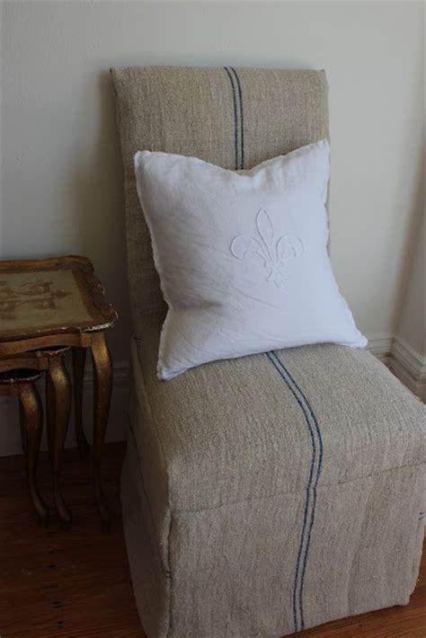 burlap slipcovers vintage grain sack chair slipcover burlap love pinterest