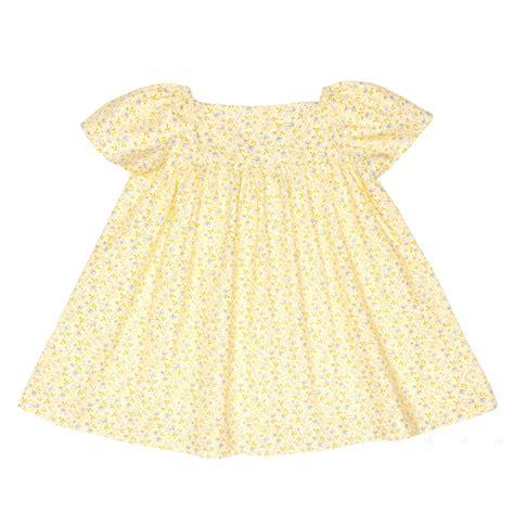 Cotton Dress Yellow Blue 30086 meme y nana yellow blue floral print cotton dress missbaby