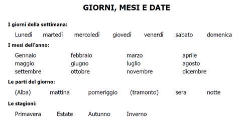 fino a quanti mesi elc italiano giorni mesi date