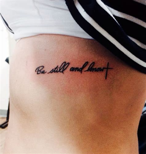 be still and know that i am god rib tattoo palabras