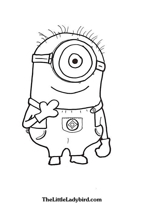 coloring pages minion stuart free minions coloring pages thelittleladybird com