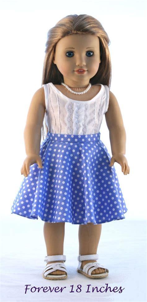 Instan Luris Polka 18 quot doll clothes fits american doll pintucked woven tank top and polka dot circle skirt