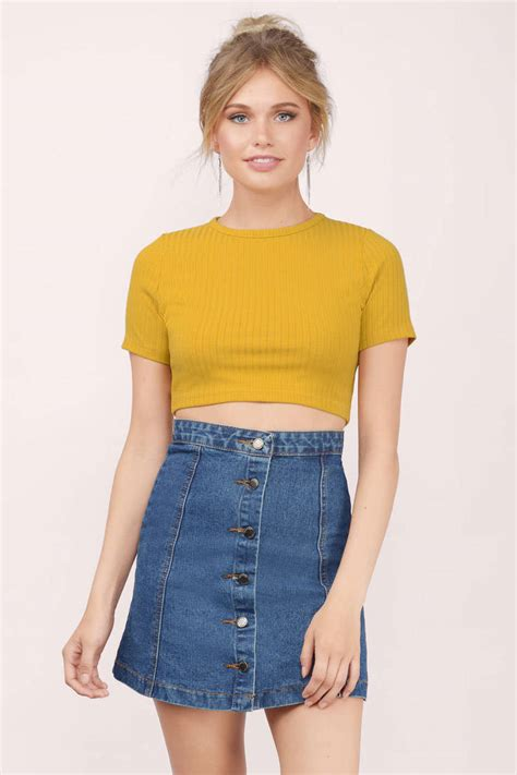 Top Yellow by Trendy Yellow Crop Top Yellow Top Crew Neck Top