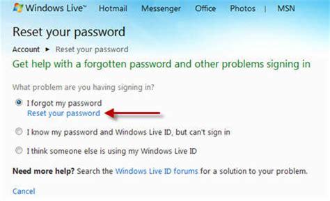 resetting windows live account reset windows live account password