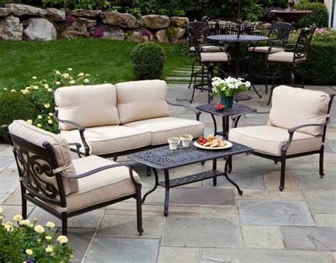 tuscan style patio furniture with comfortable iron chairs