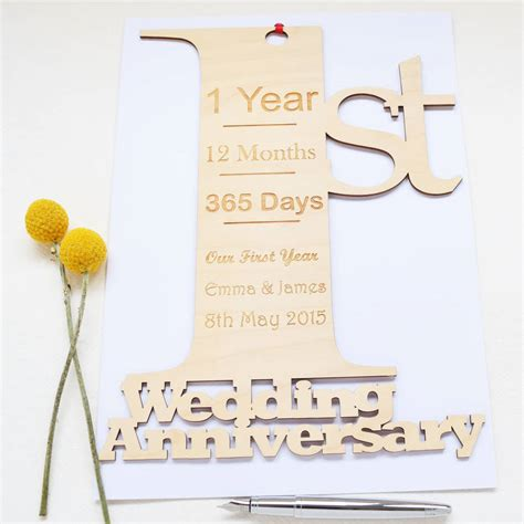 1st Wedding Anniversary by Personalised 1st Wedding Anniversary Card By Hickory