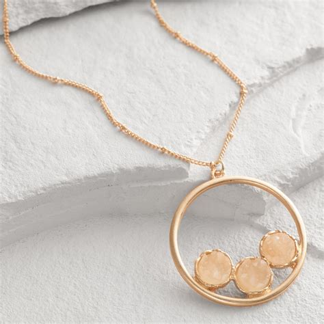 gold three druzy circle pendant necklace world market
