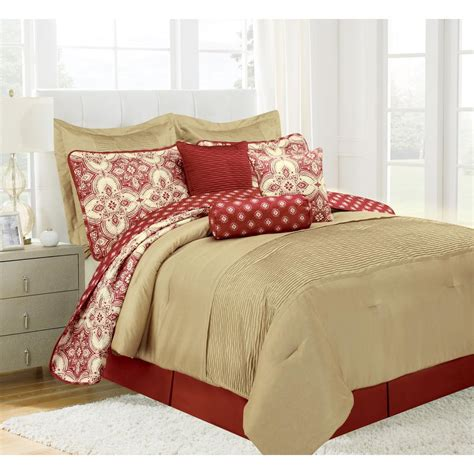 patina red queen microfiber  piece comforter set