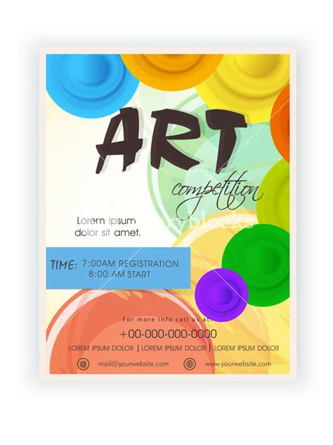 Art Competition Announcement Template Banner Or Flyer Design With Timing Schedule Royalty Free Design Contest Template