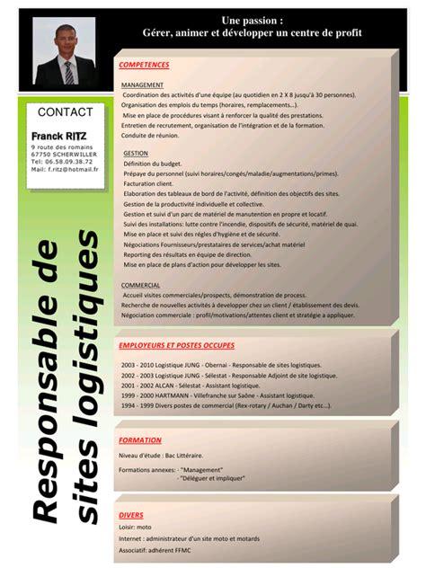 Exemple De Lettre De Motivation Responsable Logistique exemple cv assistant logistique cv anonyme